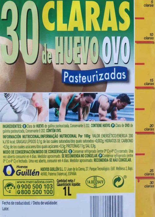 Información nutricional claras de huevo Mercadona