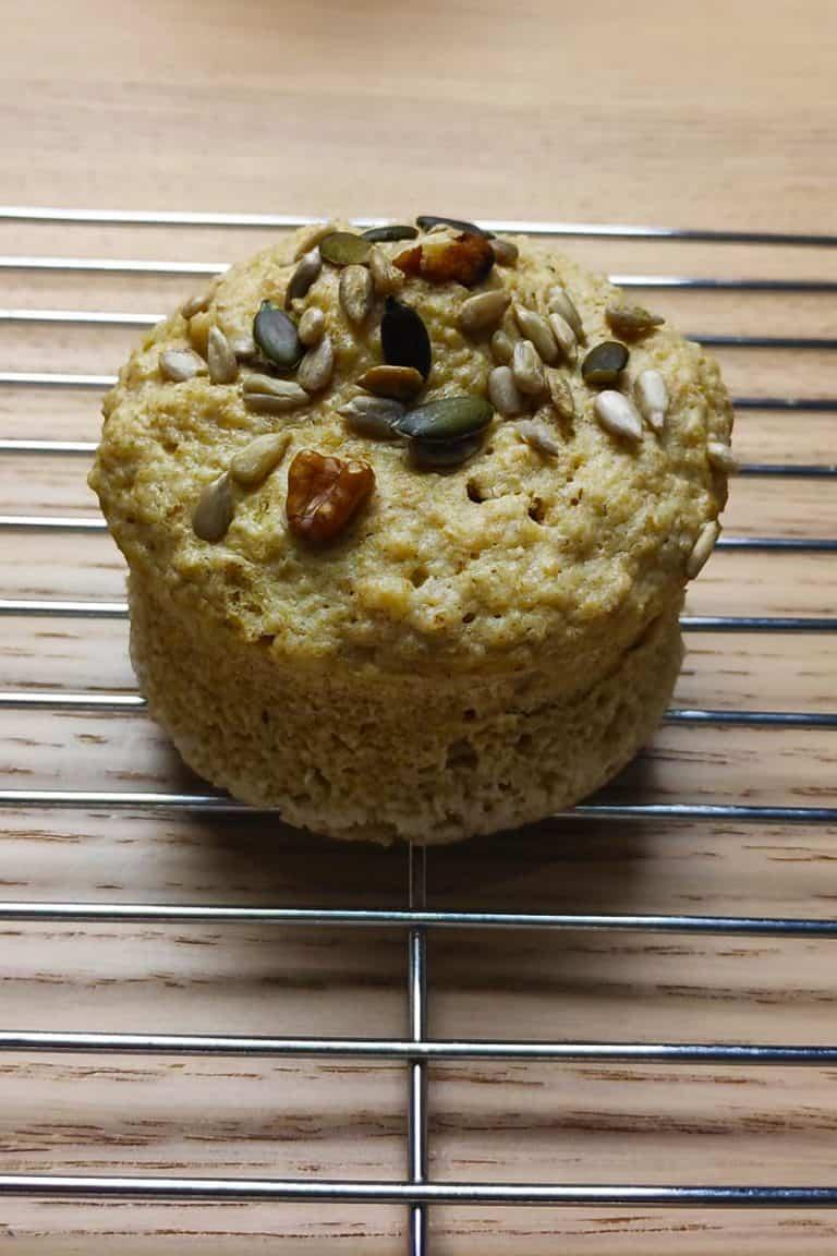 Pan de avena al microondas.