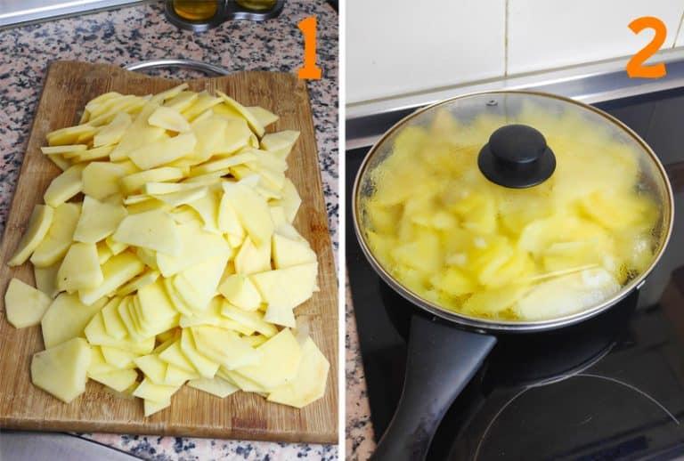 patatas cortadas y cocinadas de la tortilla vegana