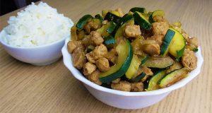 soja texturizada con salteado de verduras