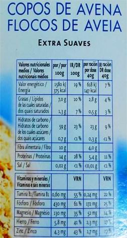 valor nutricional de los copos de avena Mercadona